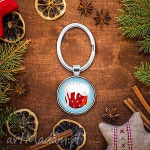 upominek na święta Brelok do kluczy ŚWIĄTECZNY KOT, kotek, bombka, prezent, mikołajki