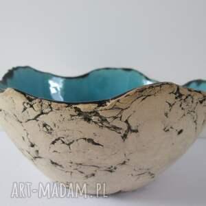 Turkusowa skała dekoracyjna miska ceramika ana miska, ceramiczna