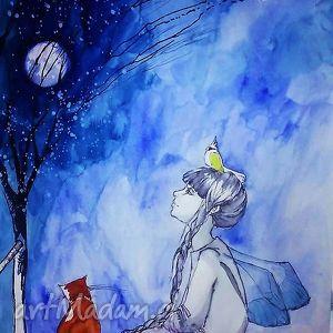 pokoik dziecka praca akwarelami i piórkiem z papugą na głowie, akwarela, rysunek
