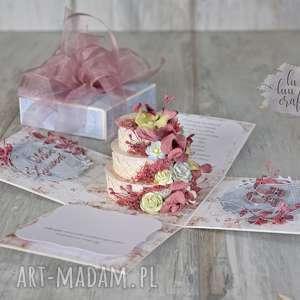ręcznie wykonane scrapbooking kartki personalizowane pudełko eksplodujące na ślub