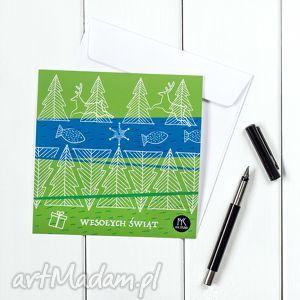 autorska kartka świąteczna - leśna, kartka, pocztówka, święta, życzenia, prezent