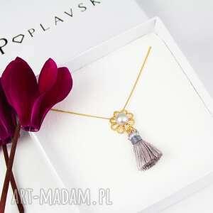 NASZYJNIK PERŁA NATURALNA CHWOST SREBRO 925, naszyjnik, perła, kwiat, srebro