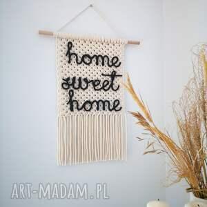 handmade dekoracje makrama makatka z napisem home sweet