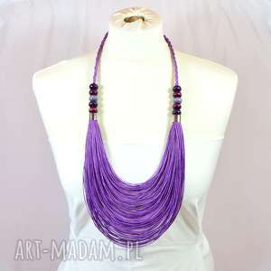 fioletowy naszyjnik z lnu, długi sznurkowy naszyjnik