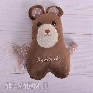 maskotki przytulanka dziecięca miś z imieniem brązowy, miś, poduszka