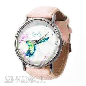 Koliber - Skórzany zegarek z dużą tarczą - ,zegarek,koliber,pastelowy,ptak,delikatny,