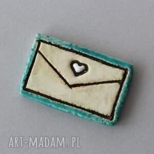 wiadomość - broszka ceramiczna, skandynawski, minimalizm, design, list, miłość