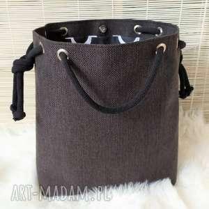 handmade na ramię torba worek czarna