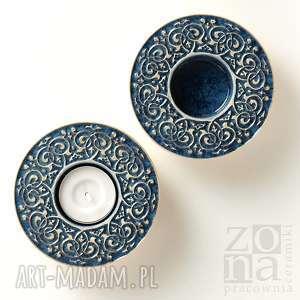 hand-made ceramika lampiony barokowe szaroniebieskie