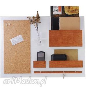 Organizer - 63x45 cm, drewniany biały plus, organizer, ścienny, biuro