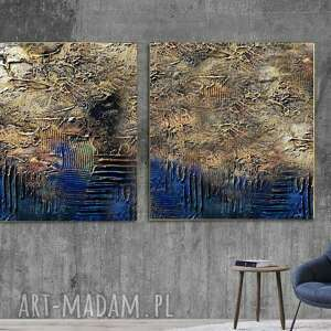 industrialny dyptyk - wielkoformatowy obraz na płótnie abstrakcyjny art, dyptyk