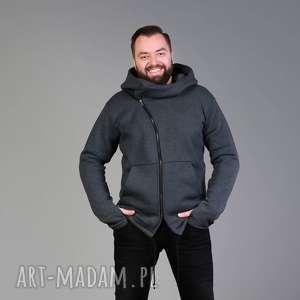 Prezent Bluza męska asymetryczna z kapturem , męska-bluza, bluzy-z-kapturem, na-zamek