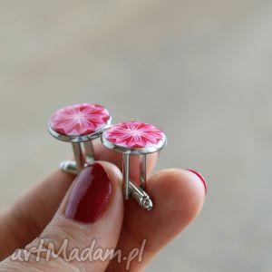 hand-made spinki do mankietów mankietów, kwiaty