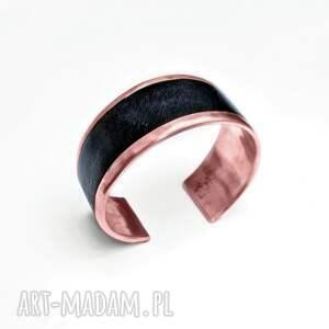 hand-made bransoleta z miedzi i naturalnej skóry