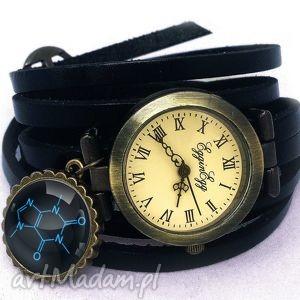 kofeina - zegarek bransoletka na skórzanym pasku, wzór