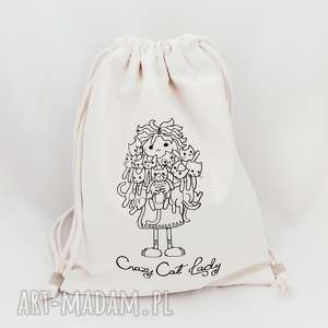 ręcznie wykonane plecaki crazy cat lady plecak worek