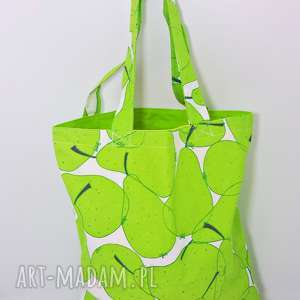 Torba na zakupy ekologiczna shopperka gruszki zielona podszewka, torba,