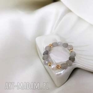 pierścionek - labradoryt z perłą, pierścionek, labradoryt, perły