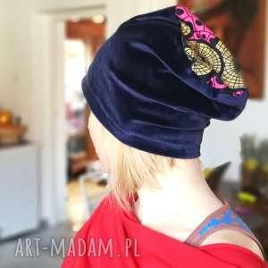 czapka granatowa aksamitna damska - czapka, aksamit, etno, przejsciówka, damska, boho