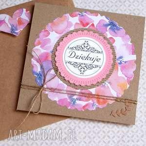 ręcznie zrobione kartki dziękuję: pink