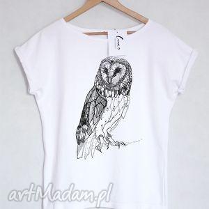 SOWA koszulka bawełniana biała S/M, koszulka, bluzka, tshirt, kogut, bawełna, nadruk
