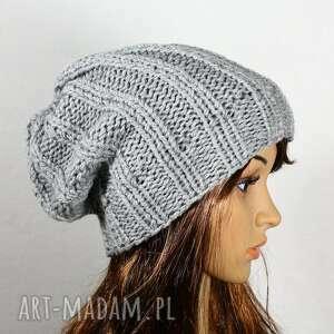 czapka jasnoszara - unisex, czapka, dziergana, zima, głowa