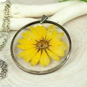 naszyjnik z kwiatów w cynowej ramce z430, naturalna biżuteria, biżuteria boho