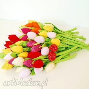 Bukiet tulipanów, tulipany, bawełniane, szyte, kwiaty, wiosna, matki