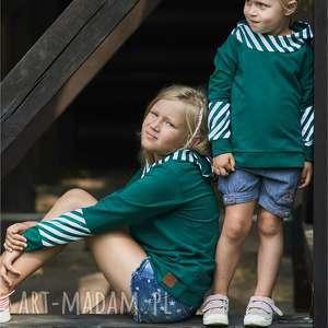 handmade bluza dziewczęca z kapturem   kalejdoskop zielona