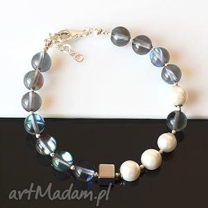 cyrkonia w perłach, cyrkonia, perły, hematyt, srebro, elegancka, delikatna