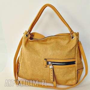 Żółta torba z kieszeniami, torebka, torba, sztuczna-skóra