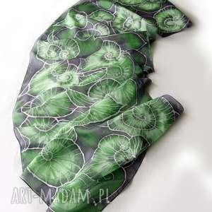 minkulul liście begonii szal jedwabny ręcznie malowany 160x43 cm, begonia