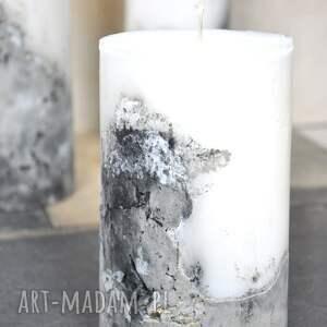 świeca z betonem - mała, kolacja, wieczór, romantyczny, salon, stół, loft