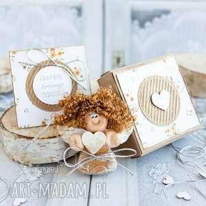 aniołek domowego ogniska personalizowana kartka pudełeczko, dla kobiety