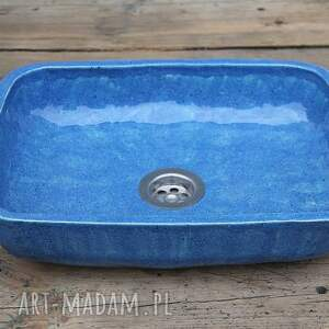 duża umywalka nablatowa, ceramiczna umywalka, łazienkowa, morska