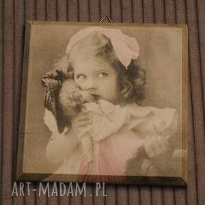 obrazek w stylu retro - babydoll - decoupage, dziecięcy