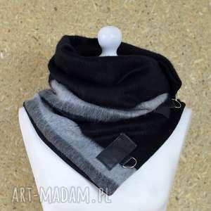 handmade szaliki szal wełniany ze skórą - czarny z szarym - z długim włoskiem