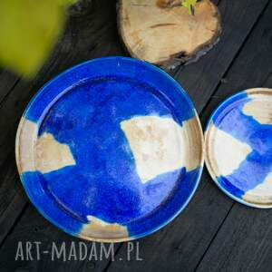 2 szt porcelanowych talerzy kobaltowe kryształy unikalne, talerze, duże
