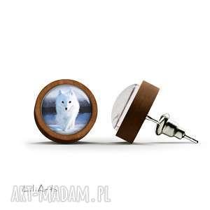 kolczyki drewniane - biały lis sztyfty, kolczyki, lis, leśne, drewno
