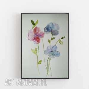 kwiaty-akwarela formatu a4, kwiaty, akwarela