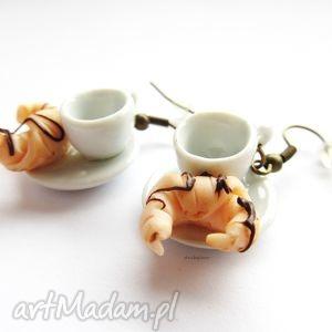 handmade kolczyki kolczyki białe filiżanki