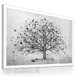 owoczesny obraz do salonu drukowany na płótnie z drzewem, czarno-białe drzewo, duży