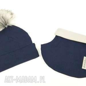 komplet zimowy - czapka z pomponem golfik podszyty polarem, na zimę