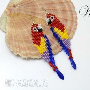 kolczyki koralikowe papugi, kolczyki, koralikowe, eleganckie, modne, święta
