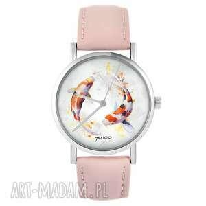 handmade zegarki zegarek - karpie koi pudrowy róż, skórzany