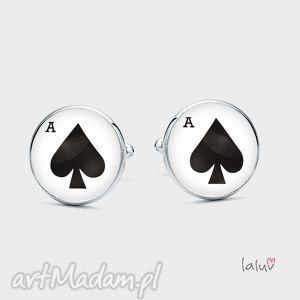 spinki do mankietów ace of spades - karty, poker, pik, karo, gra, prezent