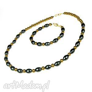 c449 elegancki, klasyczny komplet z hematytów, biżuteria