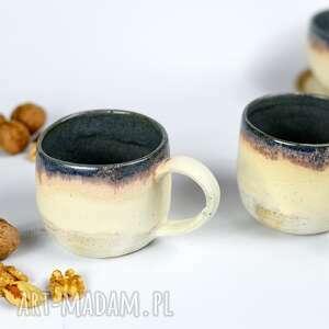 2 kubki ceramiczne - zestaw kawowy beżowo niebieskie 300 ml, ceramika