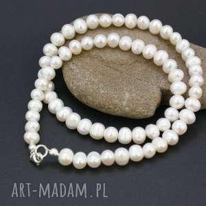 naszyjnik perły naturalne, naszyjnik, preły, srebro, korale, klasyczne