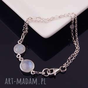 księżycowy pył, bransoletka z kamienia księżycowego 2, srebrna